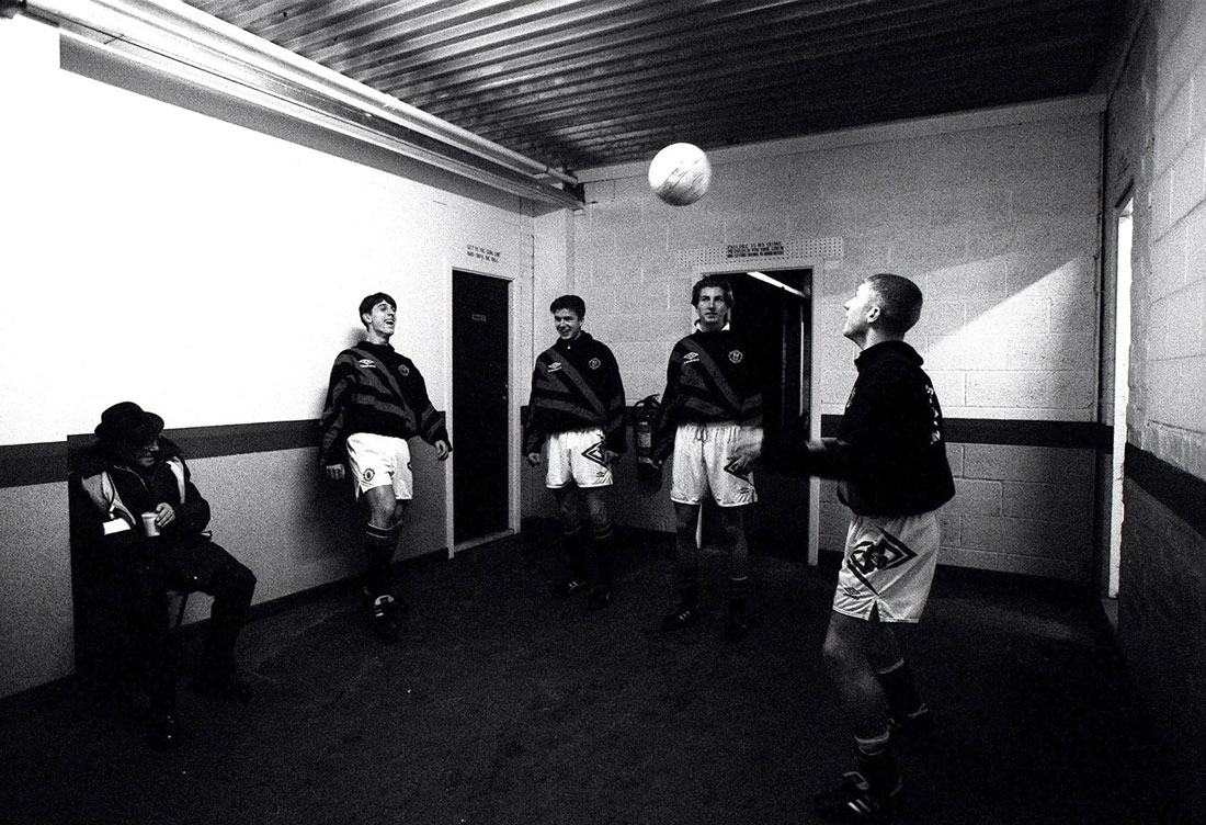 Gary Neville, David Beckham, Robbie Savage and Paul Scholes of Manchester United, Gigg Lane, Bury, November 1993