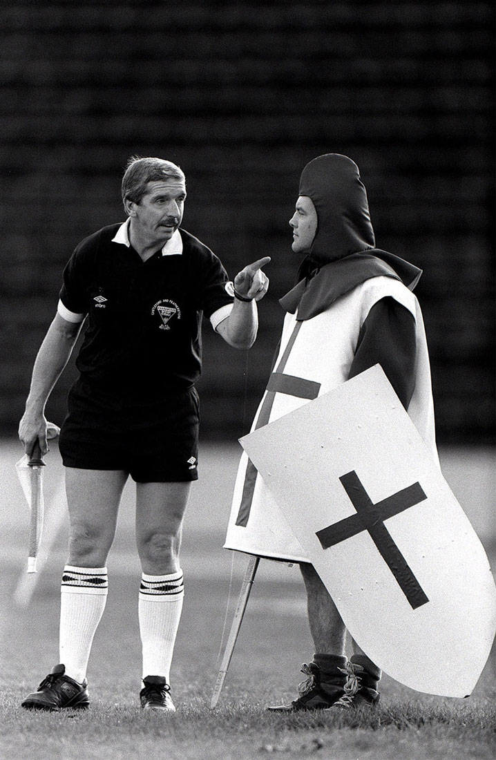 London Crusader mascot is warned for encroaching the field by a linesman, Crystal Palace, London, March 1992