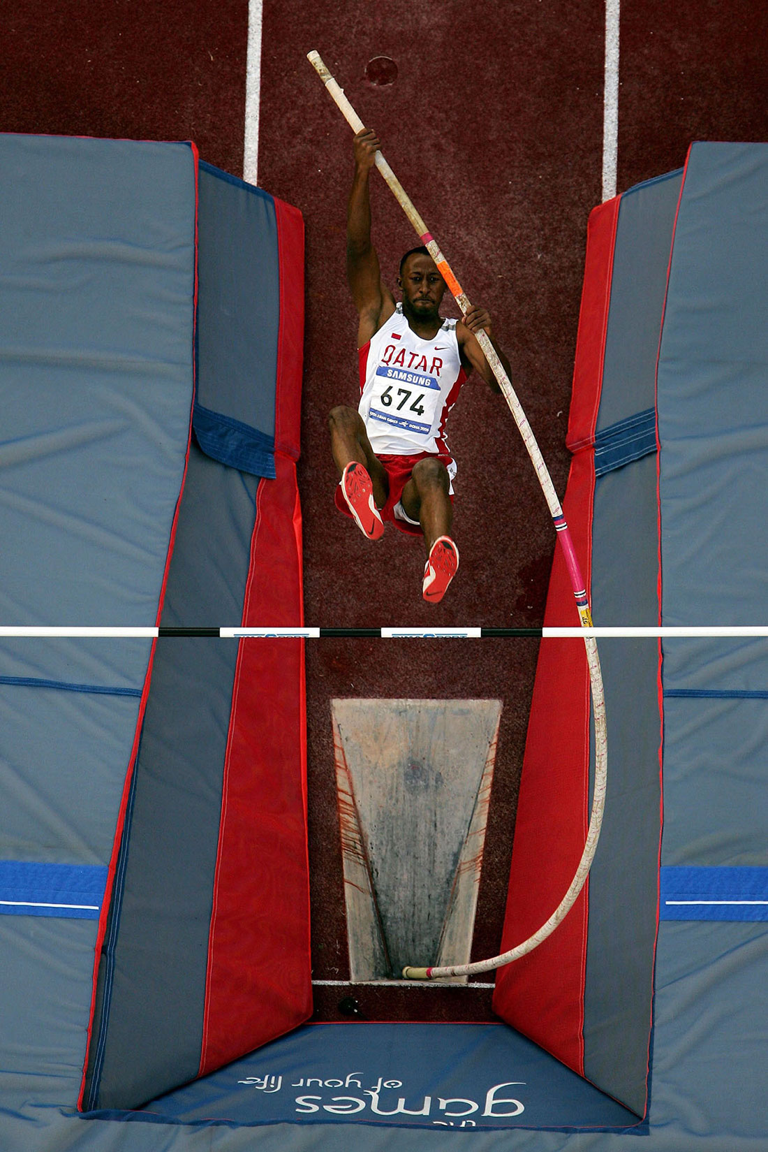 Abdulla Ghanim Saeed of Qatar, pole vault final, Asian Games, Doha, Qatar, December 2006