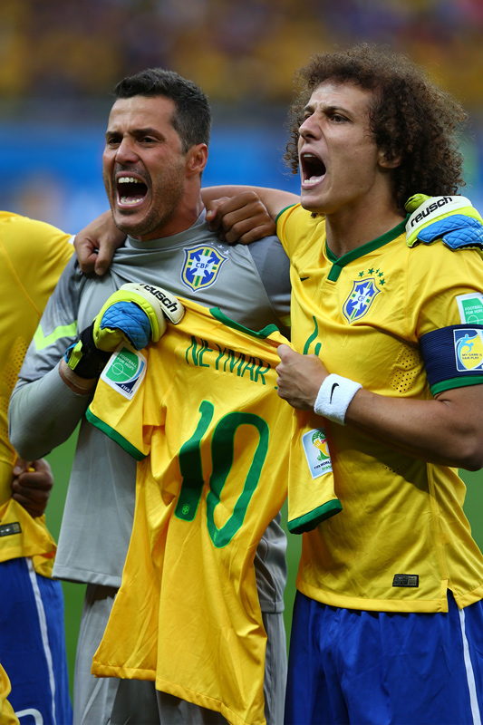 Julio Cesar and David Luiz, Brazil v Germany, FIFA World Cup Semi-Final, Belo Horizonte, July 2014