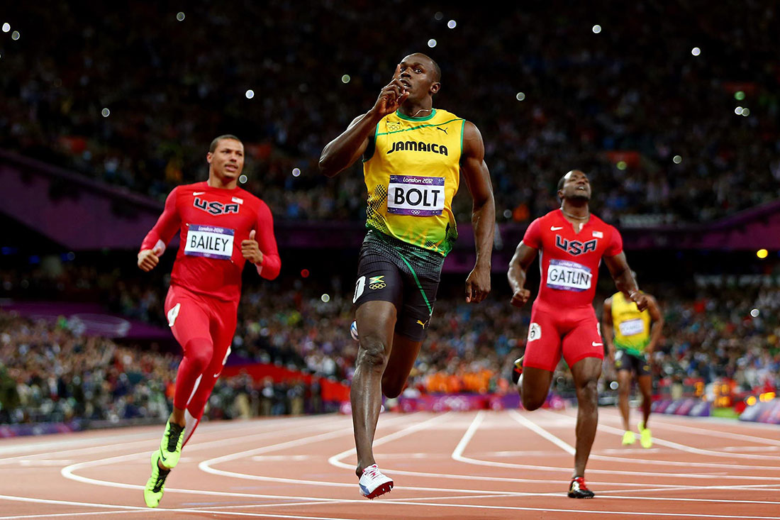 Usain Bolt celebrates claiming gold, men's 100m final, London 2012 Olympics