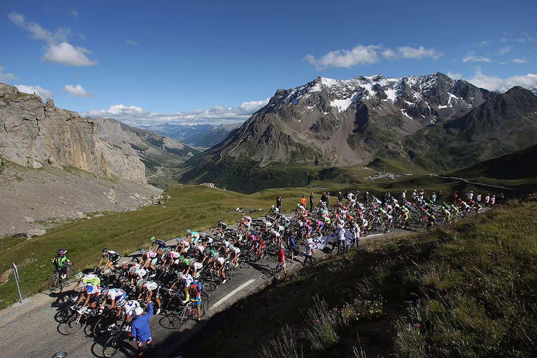 The peloton pass over Galibier, Stage 18, Tour de France, July 2011