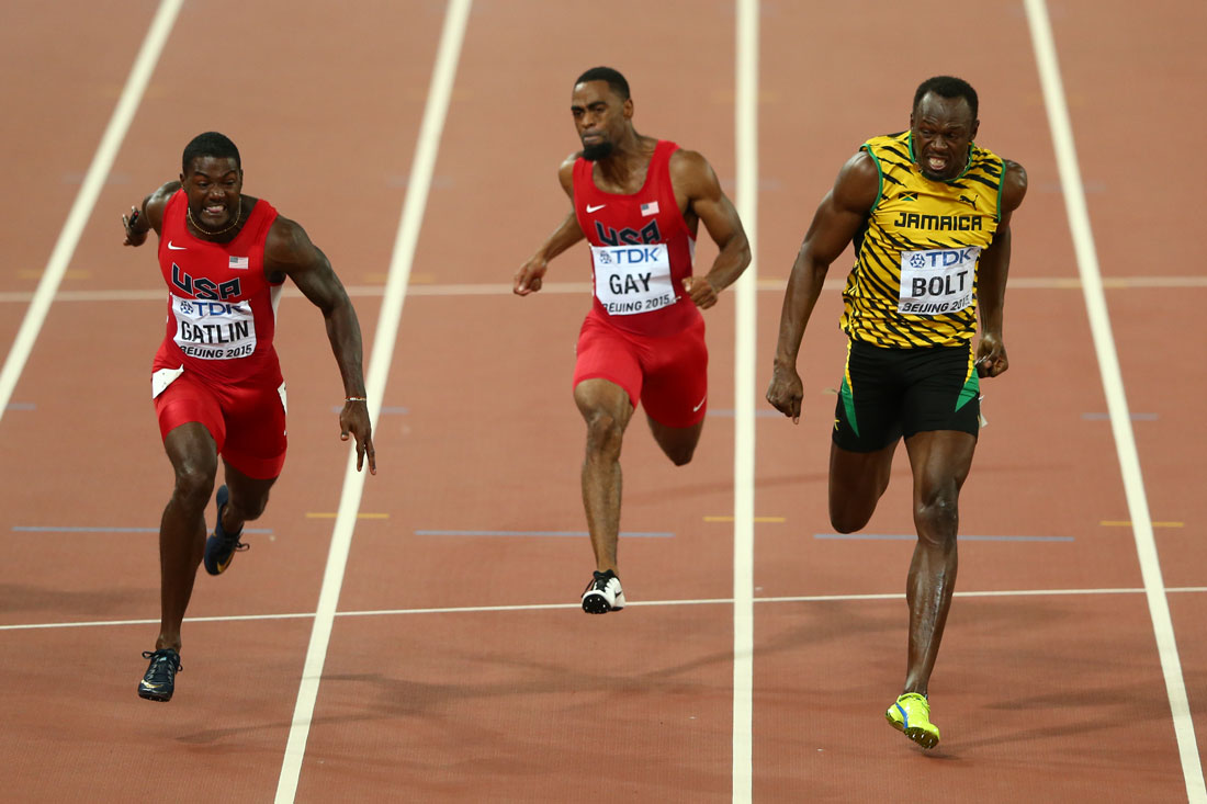 Usain Bolt of Jamaica wins 100m final from Justin Gatlin of USA, IAAF World Athletics Championships, Beijing, August 2015