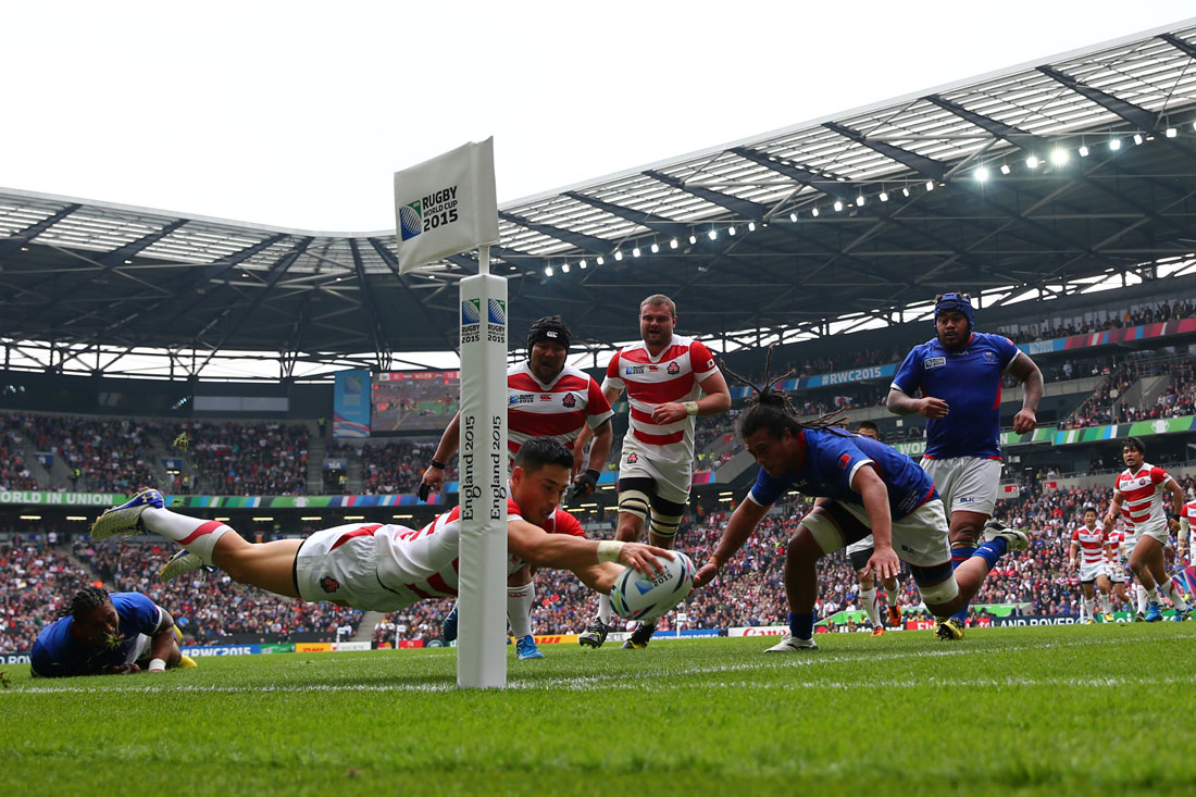 Akihito Yamada of Japan scores a try, Japan v Samoa, Milton Keynes,October 2015 Rugby World Cup