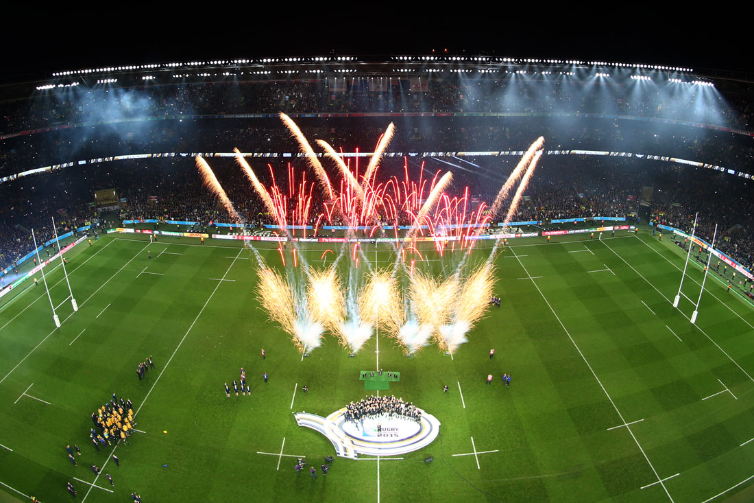 Fireworks explode as the New Zealand All Blacks celebrate victory versus Australia in the Rugby World Cup Final,London,October 30 2015