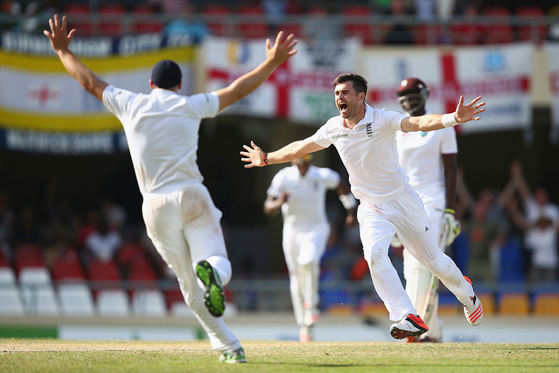 James Anderson celebrates becoming the highest English wicket taker in Tests, West Indies v England, Antigua, April 2015