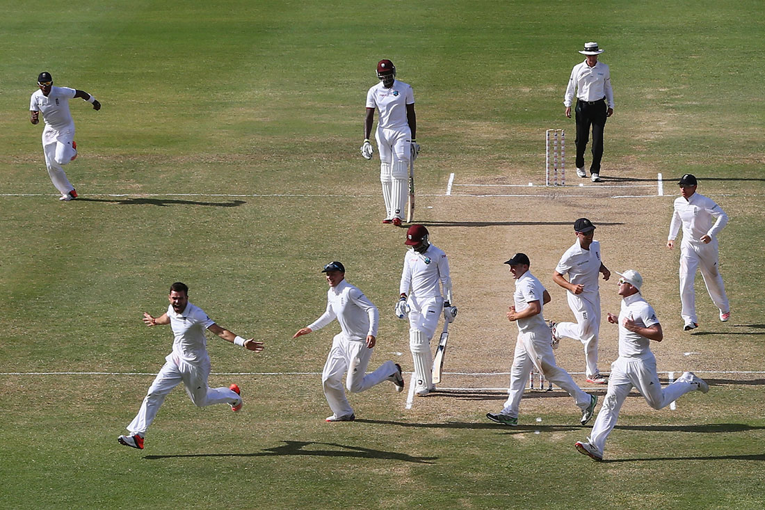 James Anderson celebrates taking the wicket of Denesh Ramdin to become the highest English wicket taker in Test match history, West Indies v England, Antigua, April 2015