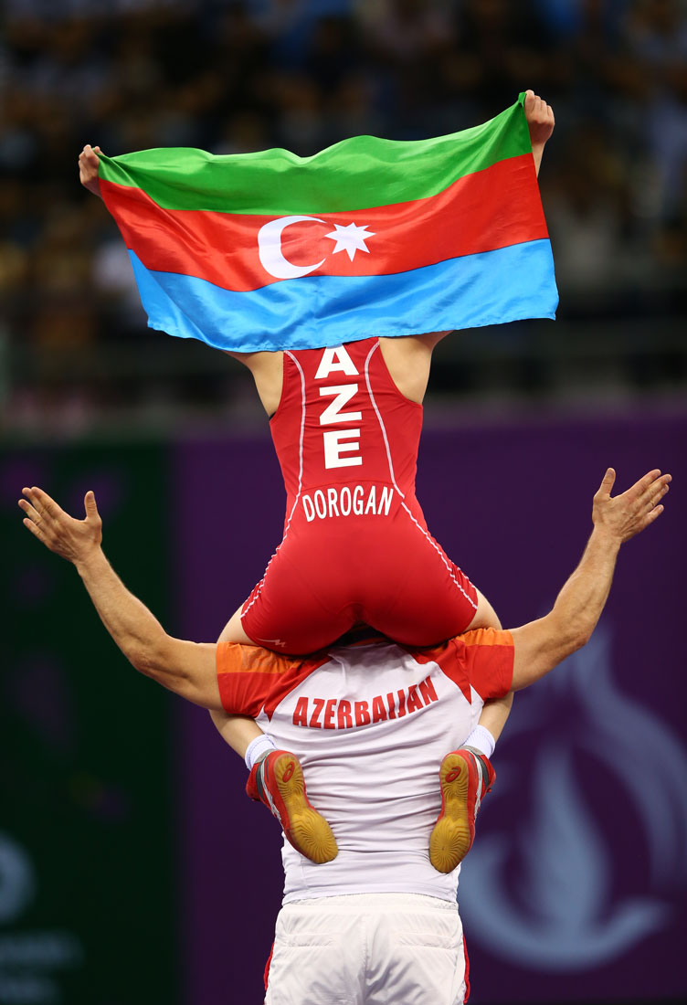 Anzhela Dorogan celebrates winning 53kg freestyle wrestling gold, European Games, Baku, Azerbaijan, June 2015