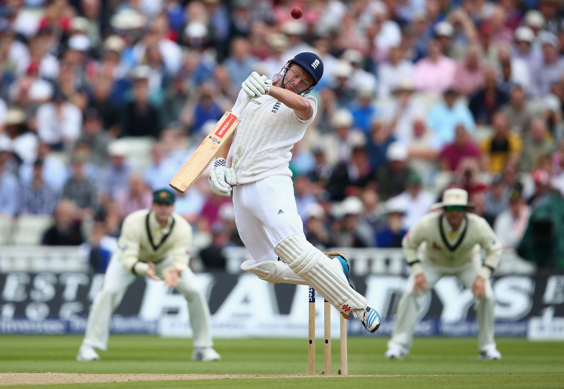 Jonny Bairstow of England gloves a Mitchell Johnson bouncer, 3rd Test, England v Australia, Edgbaston, Birmingham, July 2015