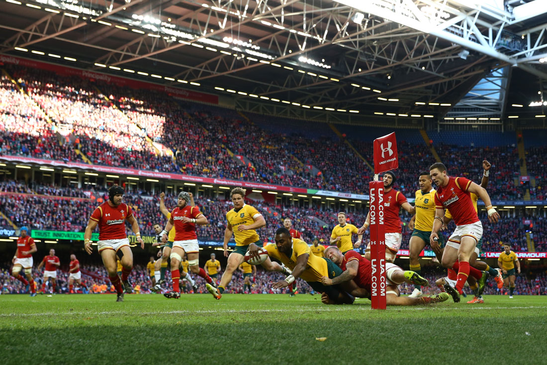Tevita Kuridrani of Australia scores his sides third try. Wales v Australia, 5th November 2016