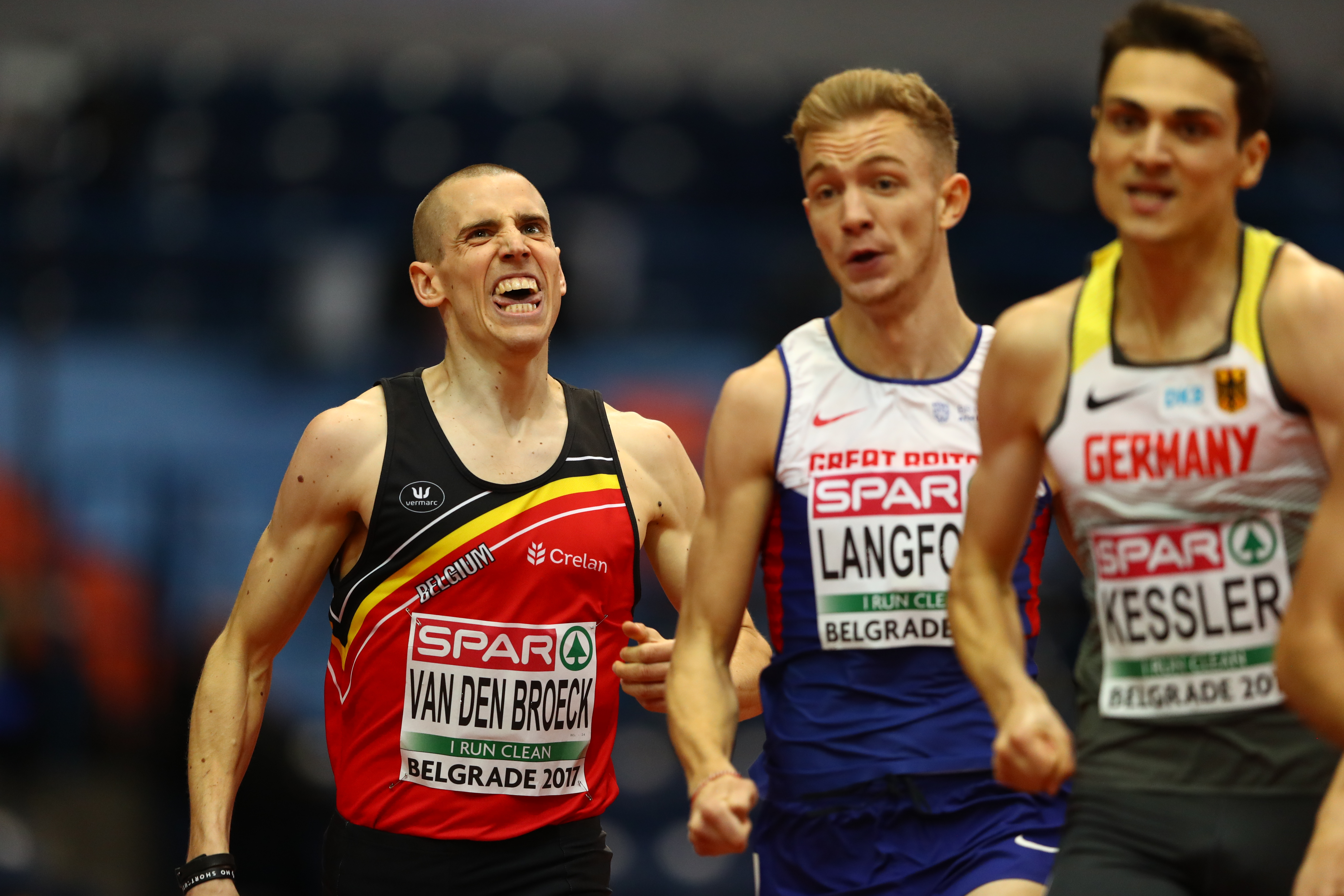 Jan van den Broeck of Belgium grimaces during the 800m heats, European Indoor Championships, Belgrade, March 2017