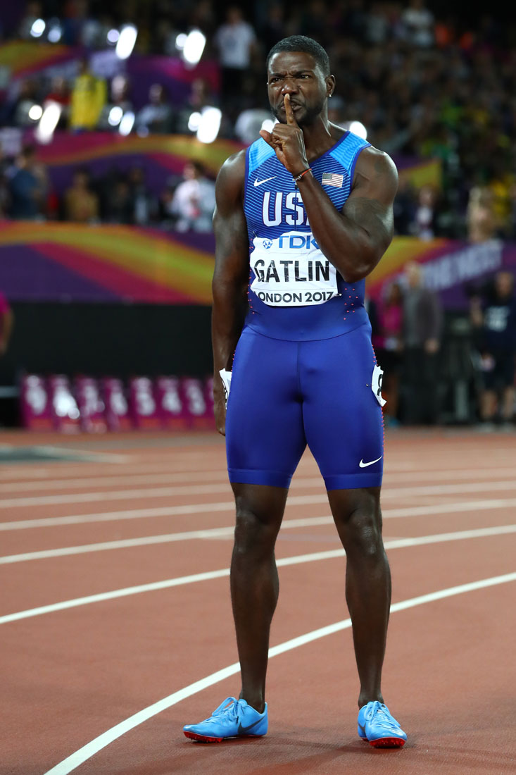 Justin Gatlin of USA reacts after victory in the men's 100m final, Iaaf World Championships, London, Aug 4 2017