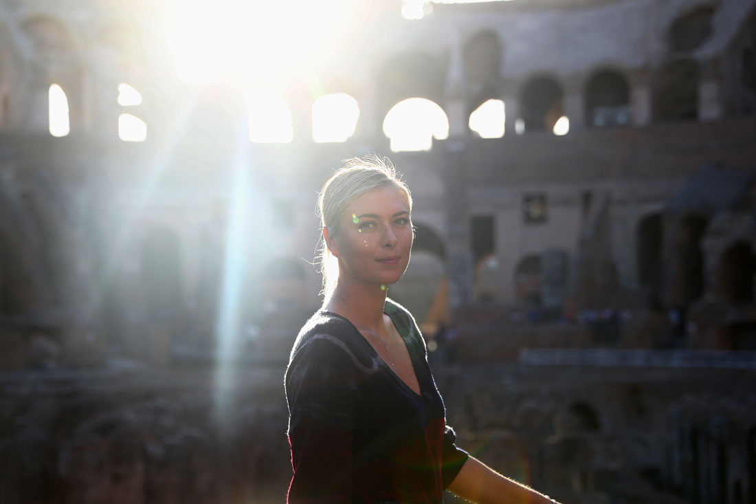 Maria Sharapova poses for a portrait inside the Colosseum, Rome, May 2017