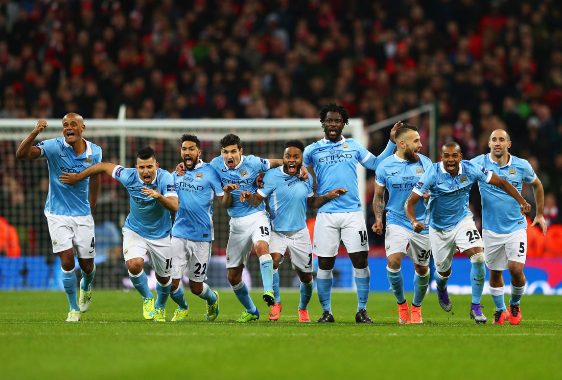 Manchester City players celebrate the 3-1 penalty shoot out victory against Liverpool, League Cup Final, Wembley, 28th February 2016