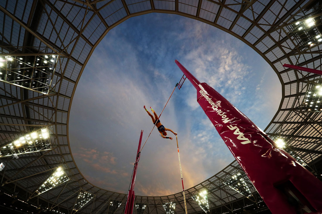 Sandi Morris of USA, women's pole vault qualification, Iaaf World Championships, London, 4th August 2017