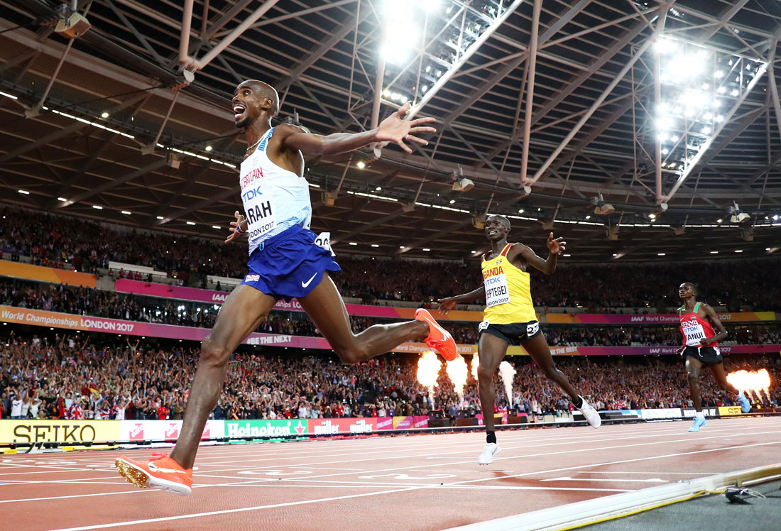 Mo Farah of Great Britain celebrates winning the men's 10,000m final, Iaaf World Championships, London, August 4th 2017