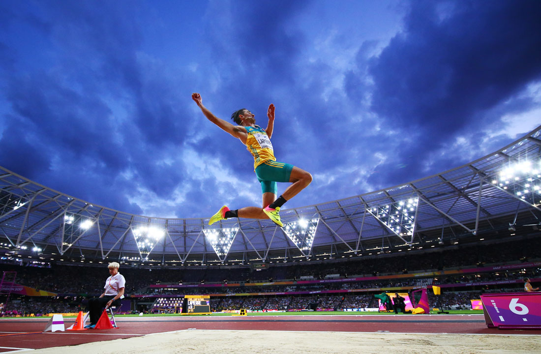 Fabrice Lapierre of Australia in the men's long jump final, Iaaf World Championships, London, 5th August 2017