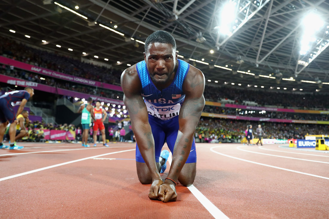 Justin Gatlin of USA after winning the men's 100m final, Iaaf World Championships, London, August 4th 2017