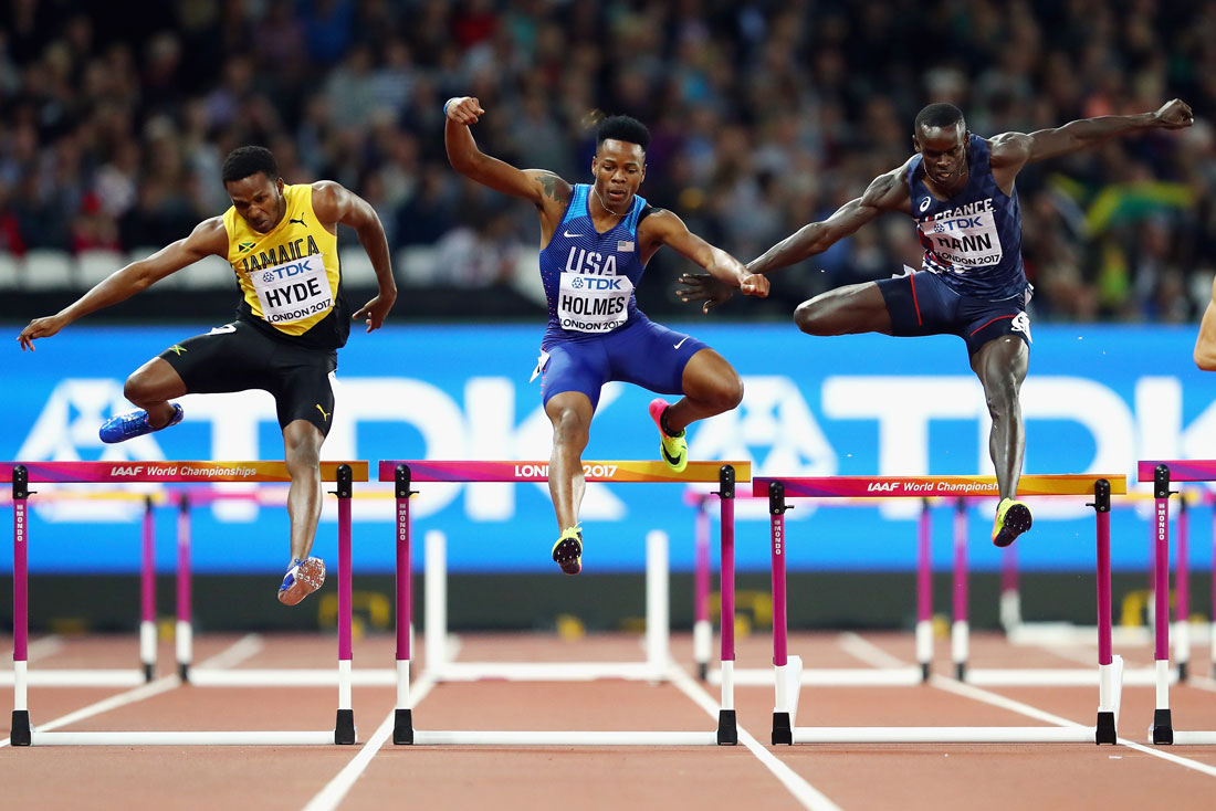 Jaheel Hyde of Jamaica, TJ Holmes of USA and Mamadou Kasse Hann of France, men's 400m hurdles semi-final, Iaaf World Championships, London, August 7th 2017