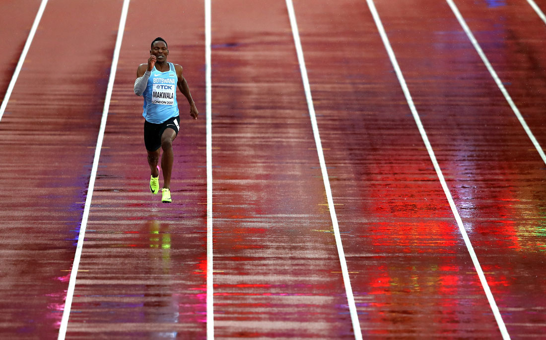 Isaac Makwala of Botswana runs solo during the men's 200m qualification rounds, Iaaf World Championships, London, 9th August 2017
