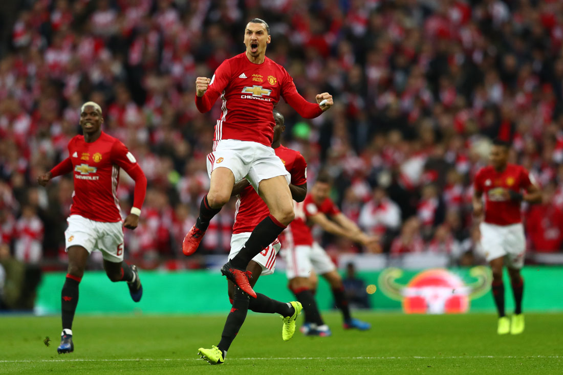 Zlatan Ibrahimovic celebrates, EFL Cup Final, Manchester United v Southampton, Wembley, February 2017