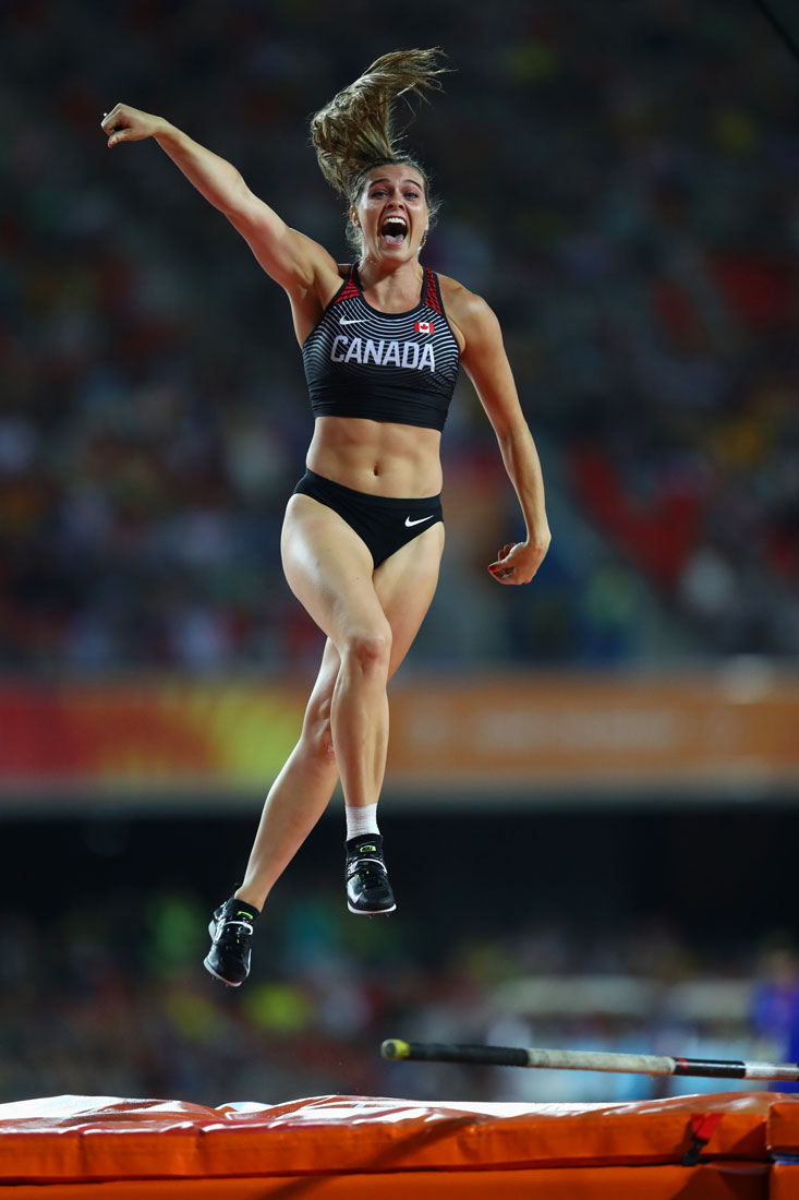 Alysha Newman of Canada celebrates pole vault gold, Gold Coast Commonwealth Games, Australia, April 2018