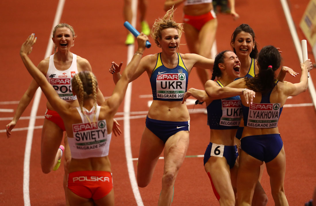 Poland and Ukraine 4x400 Relay celebrations, European Indoor Championships, Belgrade, March 2017