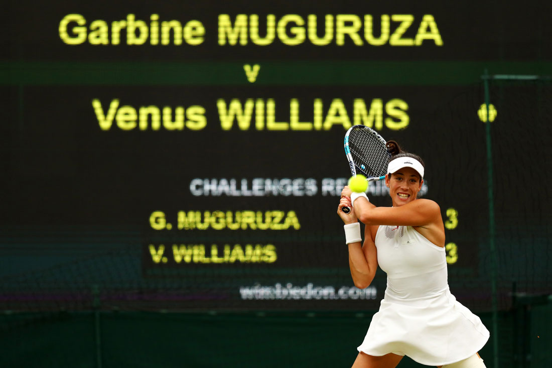 Garbine Muguruza hits a return during the ladies final, Wimbledon Championships, July 2017