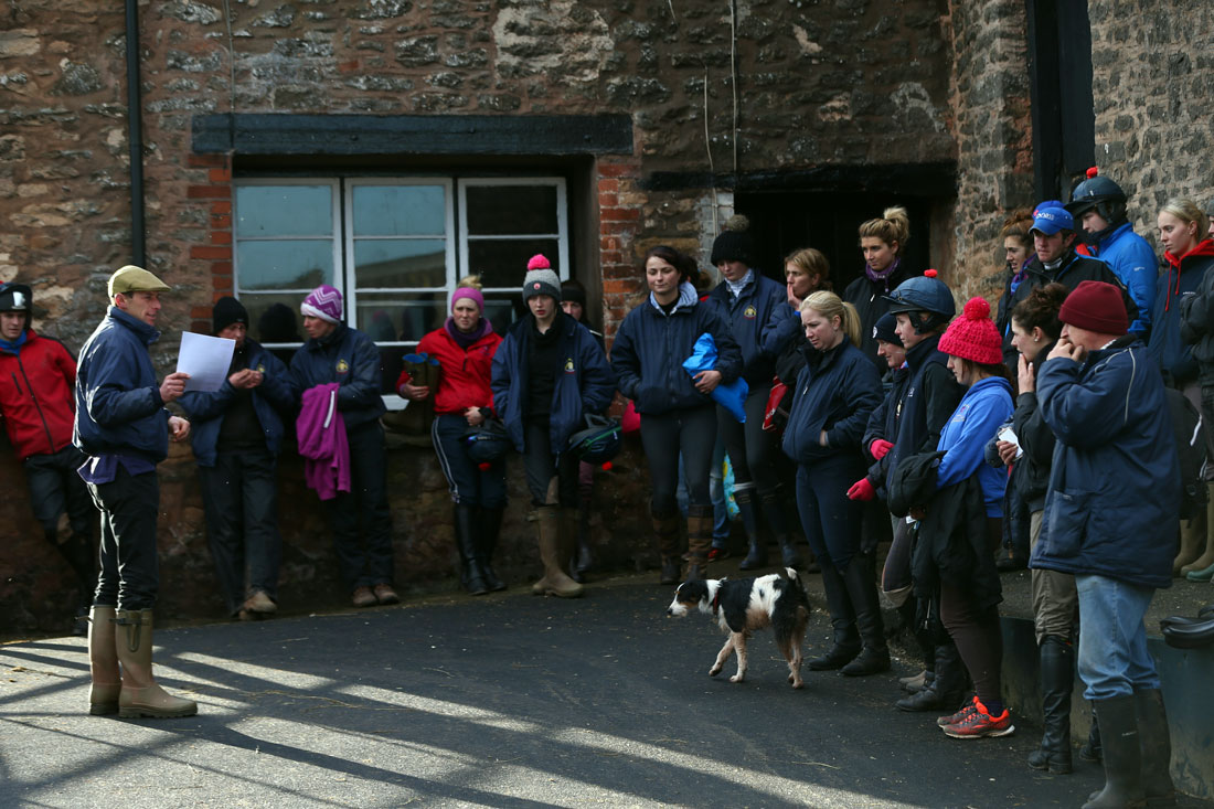 Assistant trainer Johnson White addresses staff, 8th January 2016
