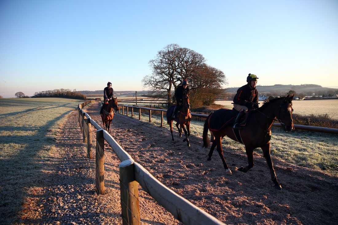 Richard Johnson, Tom O'Brien and Ciaran Gethings on frosty ground, 20th January 2016