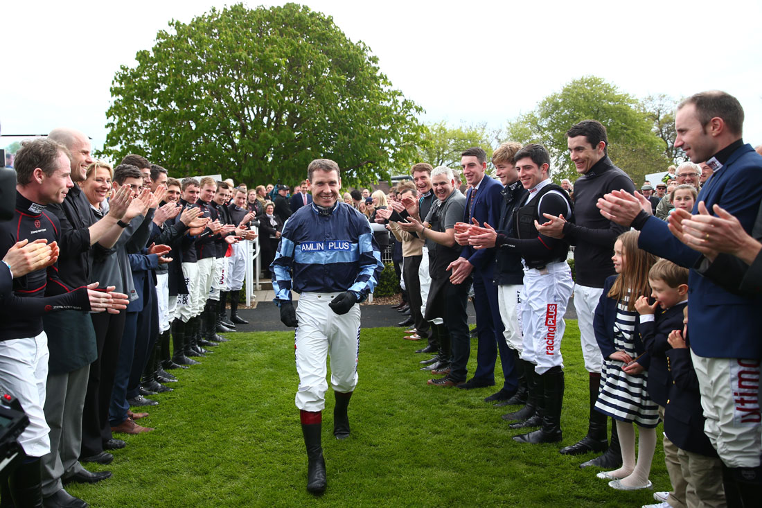 Guard of honour for champion jockey Richard Johnson, Sandown, 23 April 2016