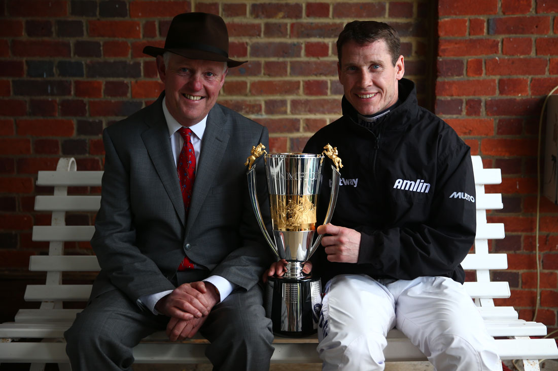 Philip Hobbs alongside newly crowned champion jockey Richard Johnson, Sandown 23 April 2016