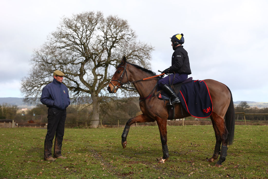 Balthazar King with Richard Johnson on board look towards assistant trainer Johnson White after a workout, 2nd March 2016