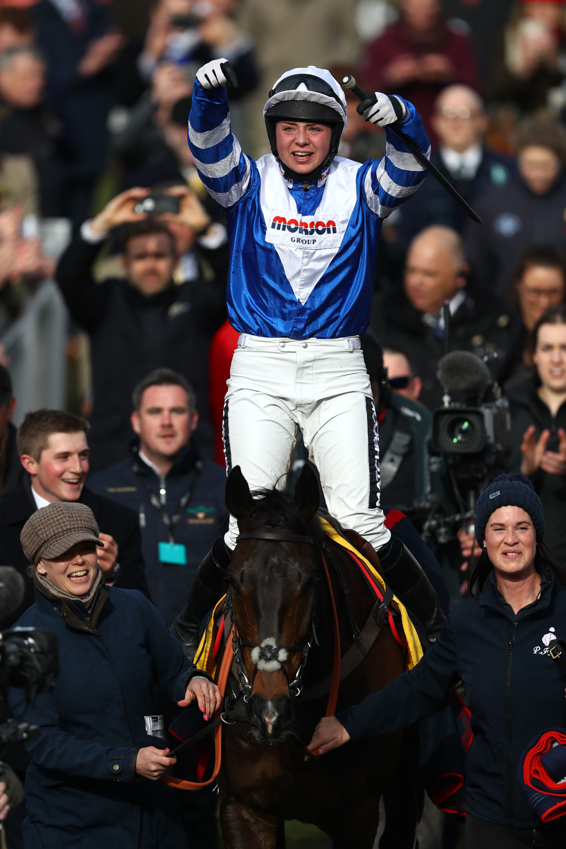 Bryony Frost celebrates victory on Frodon at the Cheltenham Festival, 14 March 2019
