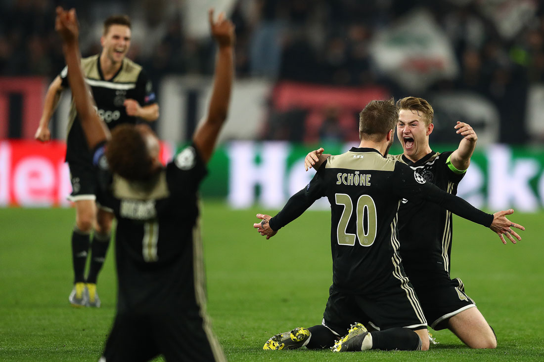 Matthijs de Ligt of Ajax celebrates victory with Lasse Schone against Juventus, Champions League Quarter Final second leg, Turin, 16th April 2019