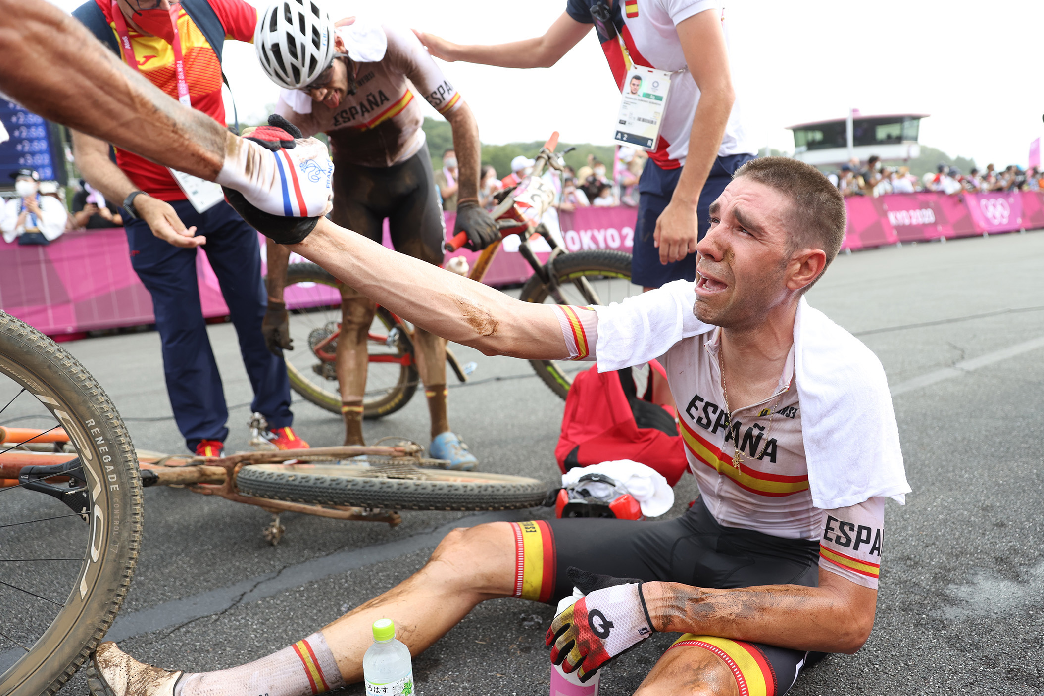 David Valero Serrano of Spain shows his emotions after claiming bronze in the Tokyo Olympics men's mountain bike race at Izu on 26 July 2021