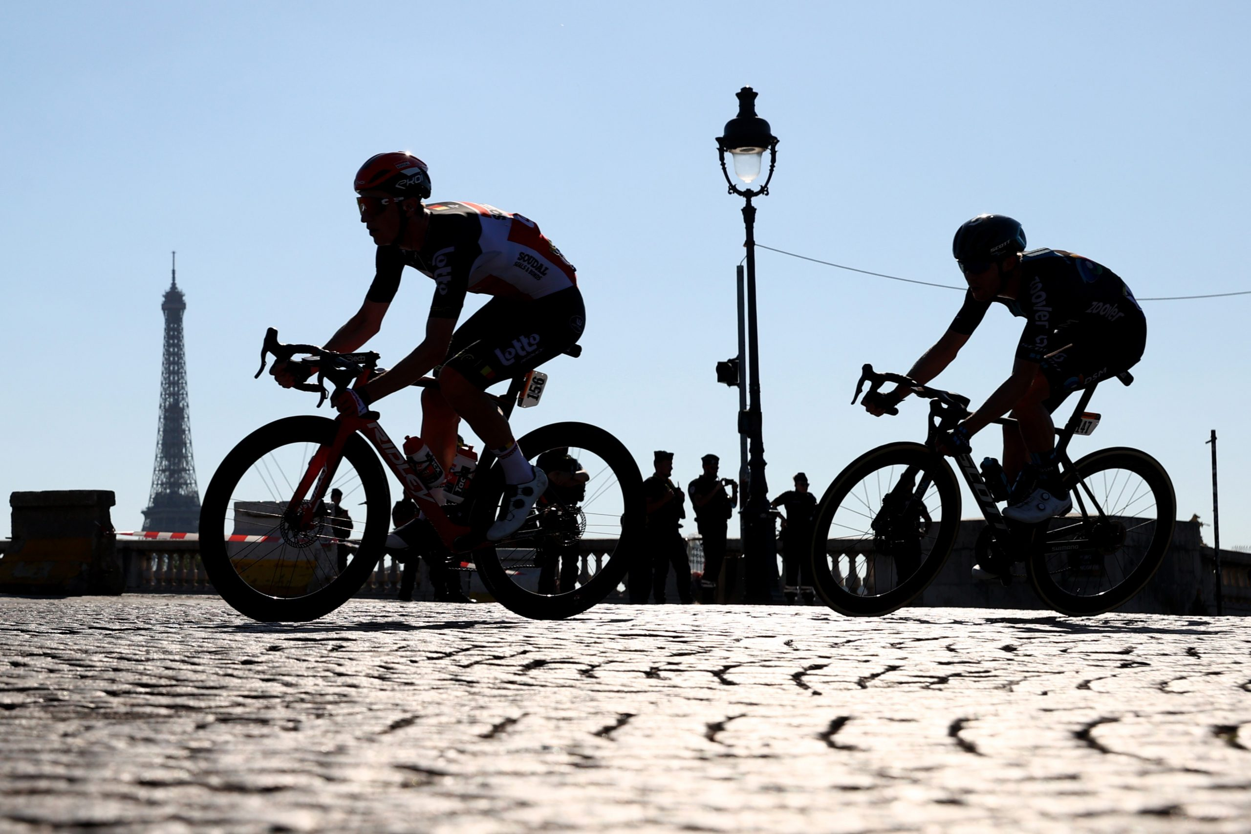 Harry Sweeny of Australia and Casper Pedersen of Denmark during stage 21 of the Tour de France, 18 July, 2021
