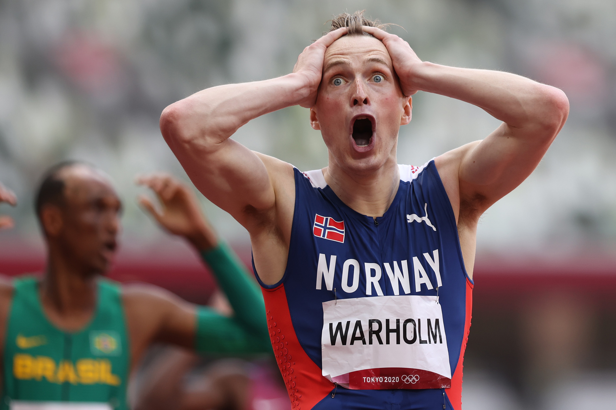 Karsten Warholm of Norway reacts after winning the gold medal and setting a new world record in the Men's 400m Hurdles Final on August 3rd 2021, Tokyo Olympics